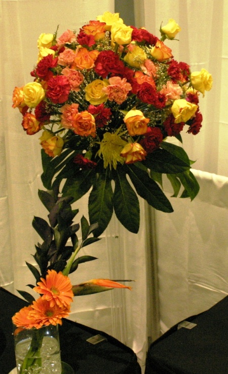5' tall large assorted flower cluster vase