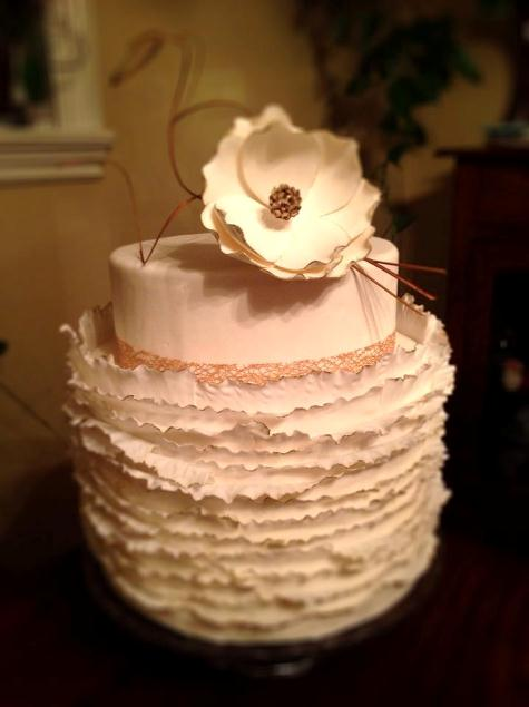 wedding dress cake with invered ruffles