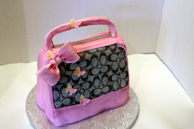 Pink Coach Purse with edible icing logo inlay