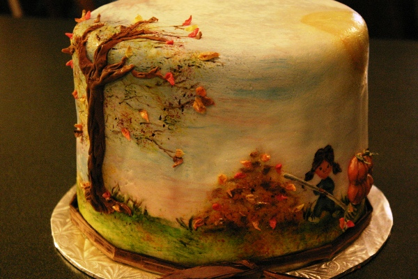 hand painted 3d cake autumn scene