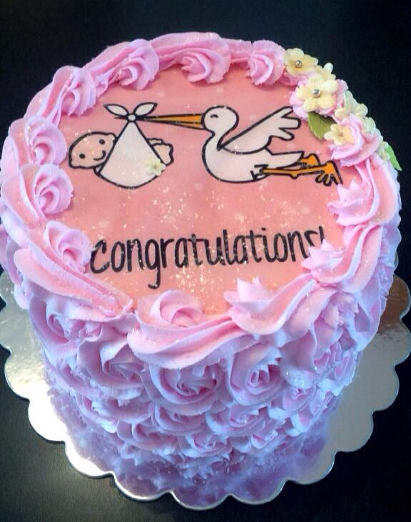 pink-stork Cake Ideas For Baby Shower
