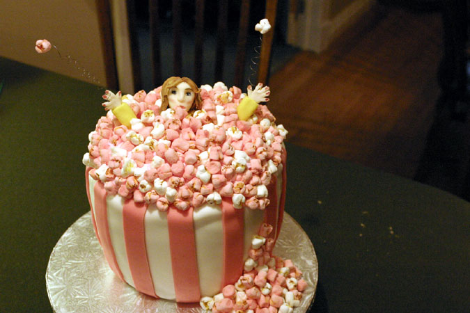 popcorn bowl cake with woman