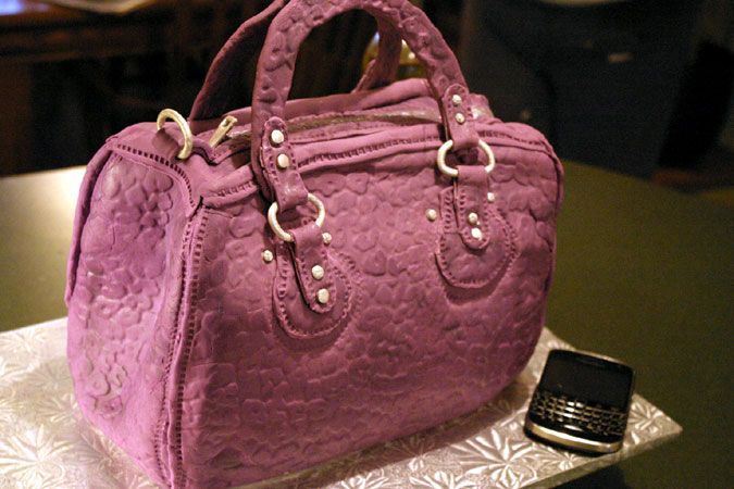 purple handbag cake