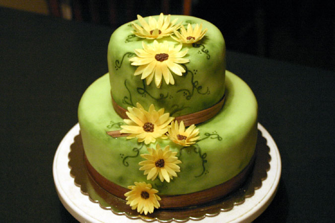 green sunflower cake