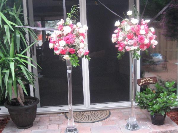 5' tall clear vases with large floral clusters