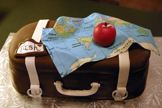 suitcase cake with map