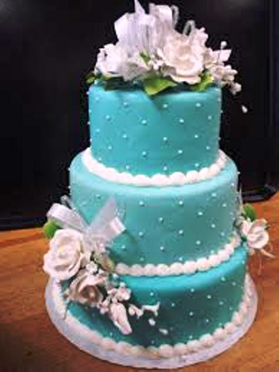 blue 3 tier wedding cake