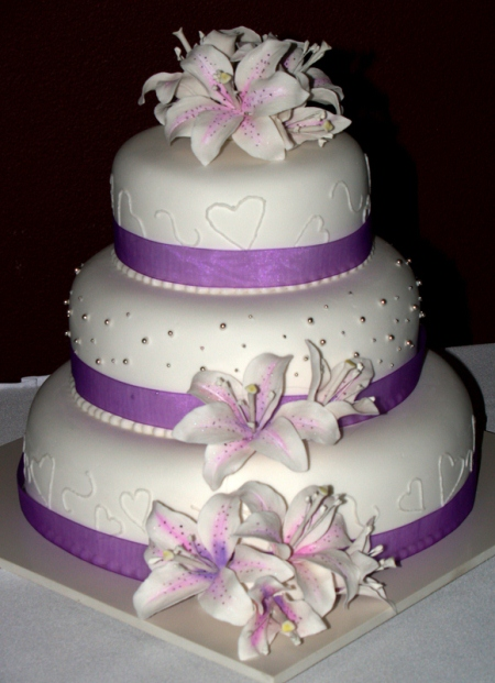 3 tier with orchids