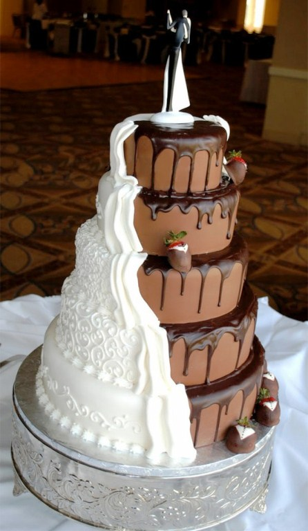 5 tier with cut-away chocolate