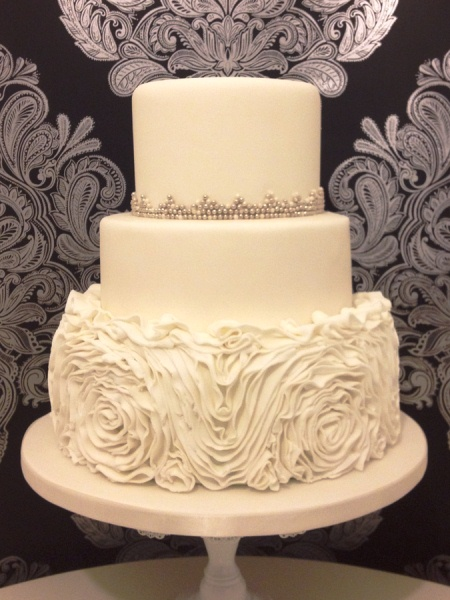 classic 3 tier with fondant ruffles