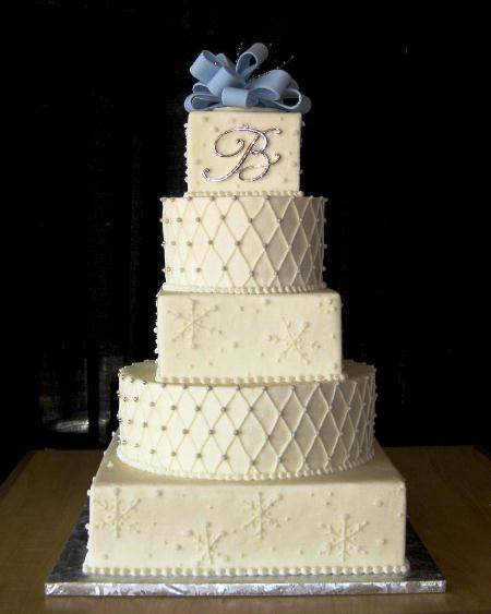 Square And Round Tier Wedding Cake
