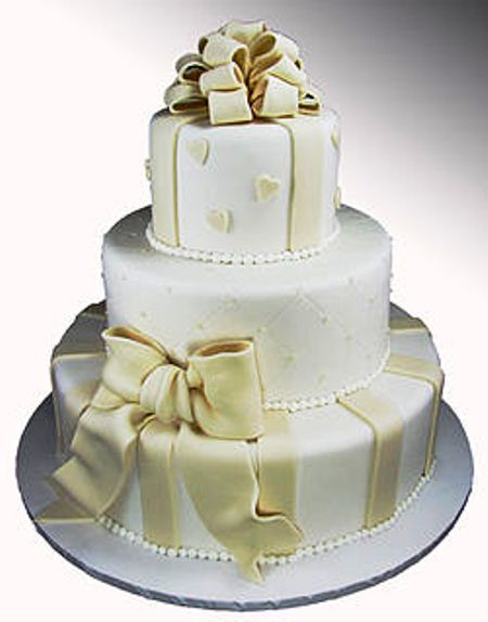 3 tier with fondant ribbons