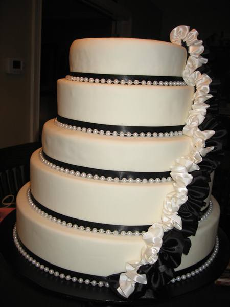 black and white multi tier with real ruffles
