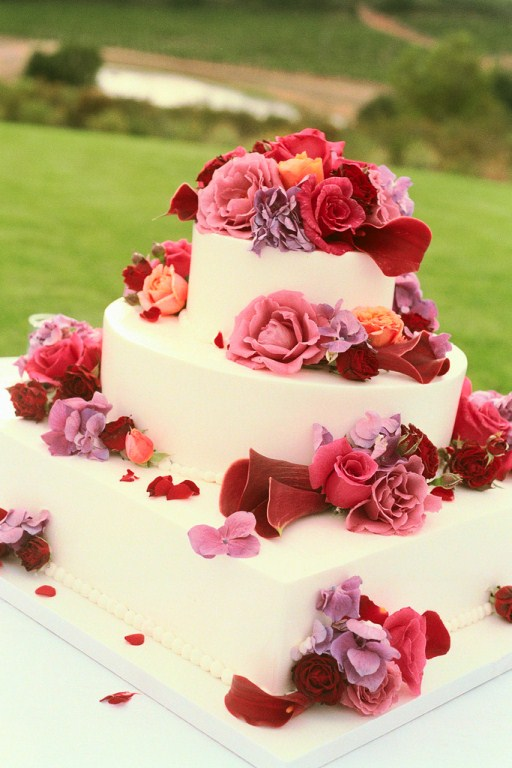 3 tier with roses square bottom