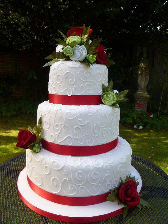 3 Tier With Red Ribbon