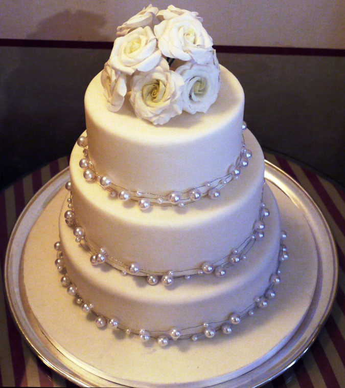 3 tier with beads and white roses